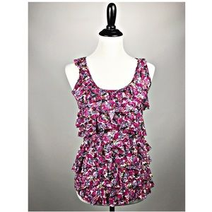 Express floral sleeveless ruffle blouse size Small